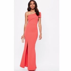 Missguided Pink one shoulder maxi dress